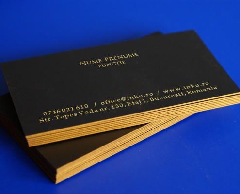 carti de vizita text auriu